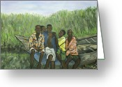 Uganda Greeting Cards - Boys Sitting on the Boat Uganda Greeting Card by Reb Frost