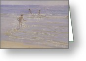 Tip Toes Greeting Cards - Boys Swimming Greeting Card by Peder Severin Kroyer
