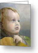 Precious Painting Greeting Cards - Boys Wonder Greeting Card by Lori Ippolito