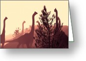 Dinosaurs Greeting Cards - Brachiosaurus Dinosaurs Greeting Card by Christian Darkin
