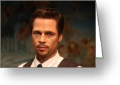 Superstar Photo Greeting Cards - Brad Pitt - William Bradley Brad Pitt - actor-  Greeting Card by Lee Dos Santos
