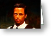 Superstar Photo Greeting Cards - Brad Pitt II  Greeting Card by Lee Dos Santos