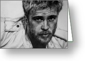 Pitt Greeting Cards - Brad Pitt Greeting Card by Jennifer Bryant