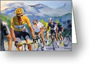 Tour De France Greeting Cards - Brad Wiggins in Yellow Greeting Card by Shirley  Peters