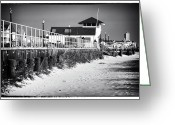 Winter Prints Greeting Cards - Bradley Beach Boardwalk Greeting Card by John Rizzuto