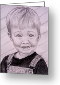 Overalls Greeting Cards - Brady Greeting Card by Julie Brugh Riffey