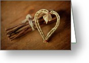 Wicker Greeting Cards - Braided Wicker Heart On Small Bundled Wood Greeting Card by Alexandre Fundone