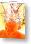 Bare Shoulder Greeting Cards - Brain Activity, Conceptual Artwork Greeting Card by Victor Habbick Visions