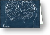 Thinking Greeting Cards - Brain drawing on chalkboard Greeting Card by Setsiri Silapasuwanchai