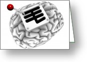 Knob Greeting Cards - Brain With Gearstick, Computer Artwork Greeting Card by Pasieka