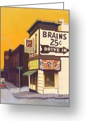 Donuts Greeting Cards - Brains and Donuts Greeting Card by The Vintage Painter