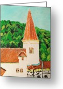 Count Dracula Greeting Cards - Bran Castle Greeting Card by K C Sahai