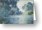 River Banks Greeting Cards - Branch of the Seine near Giverny Greeting Card by Claude Monet