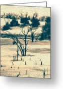 Somber Greeting Cards - Branched Reprieve Greeting Card by Bill Tiepelman