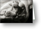 Duotone Greeting Cards - Brand New Toes Greeting Card by Monte Arnold