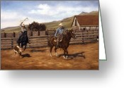 Riders Greeting Cards - Branding Time Greeting Card by Grace Nikander