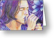 Musician Drawings Greeting Cards - Brandon Boyd Greeting Card by Joshua Morton