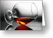 Alcoholic Greeting Cards - Brandy snifter Greeting Card by Tony Cordoza