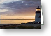 New England Lighthouse Greeting Cards - Brant Point Dawn - Nantucket Greeting Card by Henry Krauzyk