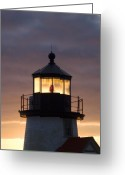 New England Lighthouse Greeting Cards - Brant Point Lanthorn - Nantucket Greeting Card by Henry Krauzyk