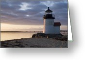 Sea Greeting Cards - Brant Point Light Number 1 Nantucket Greeting Card by Henry Krauzyk