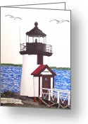 Historic Lighthouse Drawings Greeting Cards - Brant Point Lighthouse at Nantucket Harbor Greeting Card by Frederic Kohli
