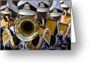 Orleans Pyrography Greeting Cards - Brass Band in NOLA Greeting Card by Ray Devlin