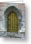 Gothic Arch Greeting Cards - Brass Book of Genesis Door Greeting Card by Sabrina L Ryan