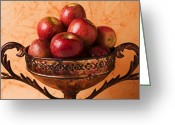 Nourishment Greeting Cards - Brass bowl with fuji apples Greeting Card by Garry Gay
