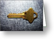 Stainless Steel Greeting Cards - Brass Key On Stainless Steel. Greeting Card by Ballyscanlon