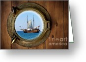 Galleon Greeting Cards - Brass Porthole Greeting Card by Carlos Caetano