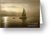Round Mixed Media Greeting Cards - Brass Sail Greeting Card by Robert Foster