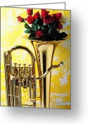 Red Roses Greeting Cards - Brass tuba with red roses Greeting Card by Garry Gay