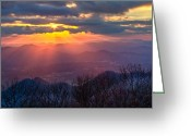 Nantahala Forest Greeting Cards - Brasstown Sunset Greeting Card by Debra and Dave Vanderlaan