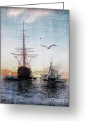 Lianne_schneider Boats Fine Art Print Greeting Cards - Brave New World Greeting Card by Lianne Schneider