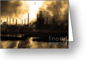 Industrial Plant Photo Greeting Cards - Brave New World - Version 1 - sepia - 7D10358 Greeting Card by Wingsdomain Art and Photography