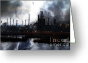 Industrial Plant Photo Greeting Cards - Brave New World - Version 2 - 7D10358 Greeting Card by Wingsdomain Art and Photography