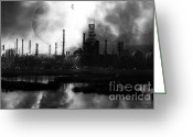 Industrial Plant Photo Greeting Cards - Brave New World - Version 2 - Black and White - 7D10358 Greeting Card by Wingsdomain Art and Photography