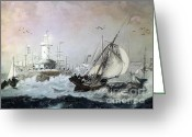 Lianne_schneider Boats Fine Art Print Greeting Cards - Braving the Storm Greeting Card by Lianne Schneider