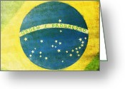 Aged Digital Art Greeting Cards - Brazil flag Greeting Card by Setsiri Silapasuwanchai
