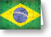 Grunge Greeting Cards - Brazil Flag vintage Greeting Card by Jane Rix