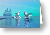 Sailboat Picture Greeting Cards - Breaching Greeting Card by Corey Ford