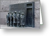 Hunger Greeting Cards - Breadline at the FDR Memorial - Washington DC Greeting Card by Brendan Reals