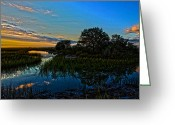 Low Country Greeting Cards - Break of Dawn over Low Country Marsh Greeting Card by Mike Savlen