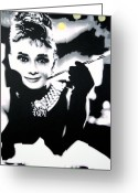 Ludzska Greeting Cards - Breakfast at Tiffanys  Greeting Card by Luis Ludzska