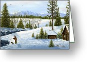 Snow Posters Greeting Cards - Breakfast Time Greeting Card by Ellen Strope