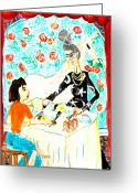 Sue Burgess Ceramics Greeting Cards - Breakfast with a witch Greeting Card by Sushila Burgess