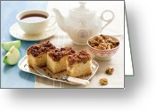 Healthy Eating Greeting Cards - Breakfast With Nut Cake Greeting Card by Verdina Anna