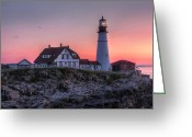 Portland Head Light Greeting Cards - Breaking Dawn Greeting Card by Lori Deiter