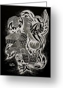 Metamorphosis Drawings Greeting Cards - Breaking Free Greeting Card by Yvonne Blasy